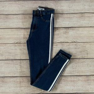 Zara Trafaluc High Rise White Striped Denim Jeans